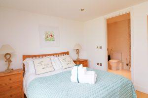 Trevarrian Ocean Blue Holiday apartment Cornwall master bedroom